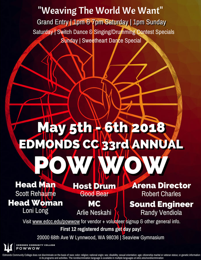 2018 Edmonds Community College Pow Wow poster. Image courtesy of Edmonds Community College.