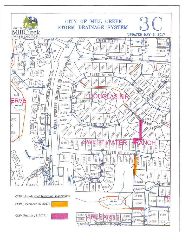 Map showing areas where closed-circuit television scans were made. Image courtesy of City of Mill Creek.