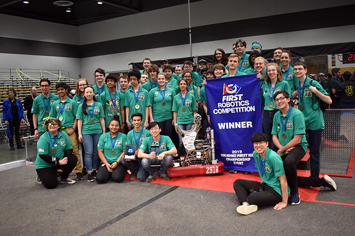Undefeated this season and bringing home an unprecedented fourth win, Jackson High School's robotics Team 2910 Jack In The Bot clinched the 2019 FIRST Washington Pacific Northwest Championship and are headed to Houston for the national competition the week of April 16th to 21st.