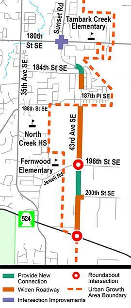 Snohomish County'splan to provide better access for motorists, cyclists, and pedestrianson 43rd Avenue SE from Maltby Road to Sunset Road at 180th Street SE has reached the 60% design stage.Utility relocation planning and right-of-way purchasing is also progressing.