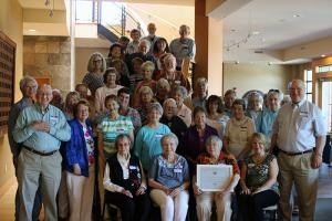 CRI members celebrating the program's 25th anniversary on July 11th. Donn Charnley: middle, second row from the top. Carol Crawford: far right, bottom row. Photo courtesy of Edmonds Community College.