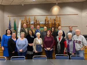 At their regular October 22, 2019, meeting, the Mill Creek City Council honored the Friends of the Mill Creek Library for their work in support of the Mill Creek Library. The nonprofit organization's volunteers plan Mill Creek Library programs, library grants, and library furnishings.