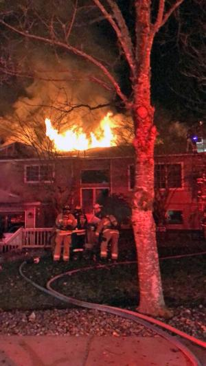 A family of four was displaced when a fast moving fire destroyed a house south of Mill Creek on Monday evening, January 14, 2019. No injuries were reported, but it took firefighters about 50 minutes to extinguish the fire.