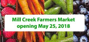 In an effort to bring the community together and promote local merchants, the City of Mill Creek will launch the Mill Creek Farmer's Market on Friday afternoon, May 25, 2018, in the City Hall North parking lot. The market will be held each Friday afternoon after that through August 31st.
