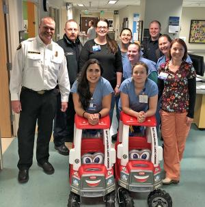 On Thursday, January 17, 2019, Snohomish County Fire District 7 firefightersmade a special delivery to floor eight at the Burn Center at Harborview Medical Center. They had pooled together enough money to purchase not one, but two toy fire engines for the kids there.