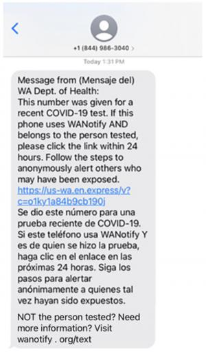 The Department of Health began texting verificationcodes to every person who tests positive for Covid-19 on Monday January 11th. The goal is to help WA Notify users quickly alert fellow users know that they'vebeen exposed.
