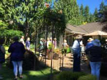 "A ""big garden party"" in the Menzies garden in Holly. Photo courtesy of Mill Creek Garden Club."