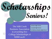 Since its very beginnings,the Mill Creek Business Associationhas been committed to encouraging and assisting local high school students in their pursuit of higher learning in business or another field with which they would like to pursue a career in business.