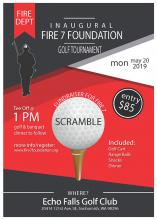 Snohomish County's non-profit Fire 7 Foundation is holding a golf tournament fundraiser at Echo Falls Golf Club on Monday, May 20, 2019. Tee off time for the scramble is 1:00 pm and the $85 entry fee covers the use of a golf cart, range balls, snacks, and a banquet dinner.