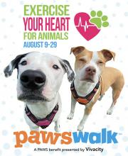 "Each week, from August 9th to 29th, participants receive a ""walk, give, share"" challenge that encourages them to get out and walk, inspire donations through their personal PAWSwalk fundraising page, and share photos and videos of their progress with family and friends on social media."