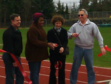Everett Public Schools and City of Mill Creek officials dedicated the Timberwolves' new all-weather track on Saturday, March 16, 2013.