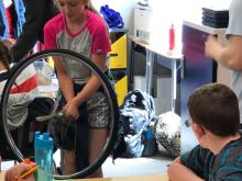 Monroe Elementary School students learn about angular momentum. Image courtesy of Everett Public Schools.