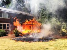 Fire crews from multiple agencies fought a residential fire northwest of Maltby on Thursday afternoon, July 22, 2021. When they arrived, responders found the back deck to be fully involved with flames extending to the attic of the home. No one was injured, but the home was a compete loss.