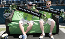 Bob Coleman of Mill Creek recently won the opportunity to watch a Sounders FC match from a unique location: the Washington's Lottery sideline couch. He won the cushy seat by playing Sounders FC Man of the Match.
