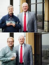 Bob Stiles (top) and Paul Grasser receive awards from Community Transit CEO Emmett Heath. Photos courtesy of Community Transit.
