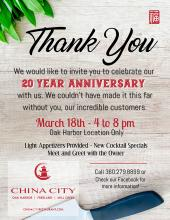 Next Monday, March 18, 2019, will be China City's 20th Year Anniversary. The occasion will be celebrated with random discount giveaways at all of the restaurant's locations, including the one within the Mill Creek Town Center.