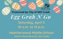 The Covid-19 pandemic safety guidelines required changing the City of Mill Creek's traditional Eggstravaganza event to what is now called the Mill Creek Egg Grab N Go. This drive-through event will be held on Saturday, April 3, 2021, from 10:00 am to noon.