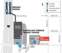 Starting on Sunday, March7, 2021, a new bus loop and parking lot will open on the east side of the Mountlake Terrace Transit Center.  The current bus loop will close for the construction of Sound Transit's Link light rail Mountlake Terrace Station and the new bus loop will be in use until Link light rail opens in 2024.