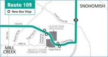 New bus stops opened on Cathcart Way and Puget Park Drive. Graphic courtesy of Community Transit.