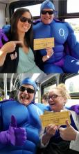 Andrea D. (top) and Julia G. show off Golden Tickets with Oxy Gene. Photos courtesy of Community Transit.