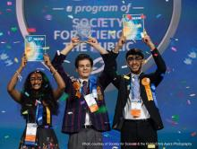 Left to right: Meghana Bollimpalli, Oliver Nicholls, and Dhruvik Parikh won the top awards at the Intel ISEF 2018. Photo courtesy of Society For Science & The Public/Chris Ayers Photography.