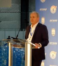 Arena Sports Mill Creek CEO Don Crowe at grand opening. Photo credit: Richard Van Winkle.