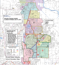 Approved elementary school boundary revisions for fall 2019. Image courtesy of Everett Public Schools.