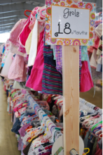 Racks and racks of children's clothes will be at the Just Between Friends Consignment Sales Event. Image courtesy of Just Between Friends.