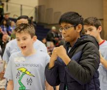 Gateway Middle School's Aquasparks robotics team intensely watches their machine perform. Photo courtesy of Everett Public Schools.