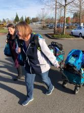 Backpacks were delivered to counselors at four high schools for distribution to homeless students. Photo courtesy of Community Transit.