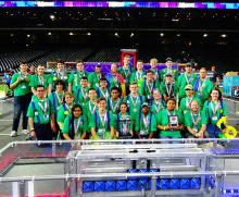 Jack in the Bot robotics team proudly poses after placing second in the FIRST® Robotics championship. Photo courtesy of Everett Public Schools.