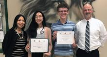 Jackson High School students June Chang and Jared Kerber earn top awards in the 20th annual 'Yo escribo en Español' literary contest. Chang placed third in her narrative essay in the category of Spanish speakers and Kerber placed third in poetry as a Spanish speaker.