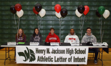 On Wednesday morning, February 5, 2014, five Jackson High School athletes signed National Letters of Intent to attend college this fall.