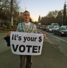 Everett School District levy opponent. Photo courtesy of Jeff Heckathorn.