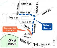 A portion of York Road will be closed from 202nd Street SE to 200th Place SE in both directions on Wednesday, June 30, 2021, and Thursday, July 1st.A detour route for the closure will be via Jewell Road and 197th Street SE.