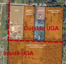 This diagram shows the location of the Urban Growth Area and the property in question. Image courtesy of Everett Public Schools.