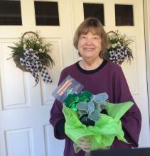Our lucky lady was longtime member Judy Scott. She won a wonderful Angel Wings (Senecio) plant from McAuliffe's Valley Nursery, Snohomish, and a $50 gift card to our Shawn O'Donnell's Grill & Pub in Everett.