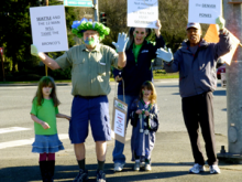 On the afternoon of Saturday, January 25, 2014, under warm and sunny skies, a small but enthusiastic 12th Man crowd turned out at the intersection of 164th SE and Bothell Everett Highway in Mill Creek, to show their support for the Seahawks going to the Super Bowl.