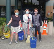 In late July 2020, Pam Brandon, Doreen Feeley, Kathy Hamilton (pictured) and Carol set out to beautify the Mill Creek City Hall South entry garden.