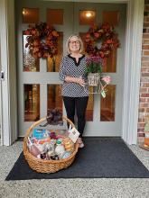 When Garden Club ladies put their creative heads together, they come up with some marvelous ideas.  So it was when Carol Taylor, Connie Hannam, Kathy Thomas and Gay Matteson collaborated to make the October Raffle Basket for a lucky Mill Creek Garden Club member.