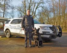 Mill Creek Police Officer Nathan Lerma and K9 Bagira. Photo courtesy of City of Mill Creek.