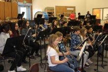 North Middle School beginning band students practice, several with instruments donated through Music4Life. Image courtesy of Everett Public Schools.