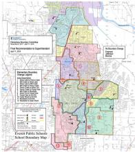 Proposed Everett School District elementary school boundaries. Image courtesy of Everett Public Schools.