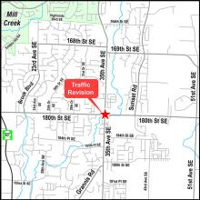 Road construction could result in up to 15-minute delays for commuters at the intersection of 35th Avenue SE and 180th Street SE south of Mill Creek from 7:00 am Monday morning, August 2nd, through late Tuesday evening August 3rd.