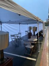 In an effort to provide on-site dining options for their customers during the pandemic, a number of Mill Creek restaurants have added temporary outdoor shelters in their parking lots. Most of these shelters are plastic tents with heaters set up to provide the required social distancing.