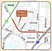 Snohomish County Public Works and Granite Construction will begin paving 1.2 miles of Airport Road/128th Street SE on the evening of Monday, July 13th. The project extends just east of the Home Depot on Airport Rd to the southbound I-5 on-ramp.  Construction will occur each night of the week except Fridays and Saturdaysfrom 8:00 pmto 4:30 am.