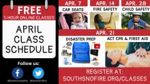 South County Fire is offering a number of free online classes and programs in April to help you stay safe and sound.  All classes are offered using Zoom and require internet access via a smart phone, tablet, or computer.