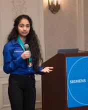 Sriharshita Musunuri at 2017 Siemens Competition. Photo courtesy of Siemens.