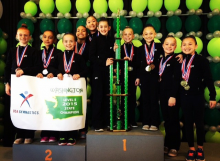 A group of local girls, who train at Cascade Elite Gymnastics in Mountlake Terrace, took home the state title with a team score of 114.325.