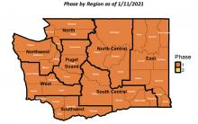 All eight Washington State regions remain in phase 1 Covid restictions until at least Monday, January 25th, based on Governor Jay Inslee's Healthy Washington Roadmap to Recovery plan.